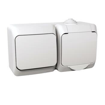 Zásuvka 2P+T/16A/250V + prepínač (6) 16AX/250V (SS) IP44 biela Cedar Plus (Schneider)