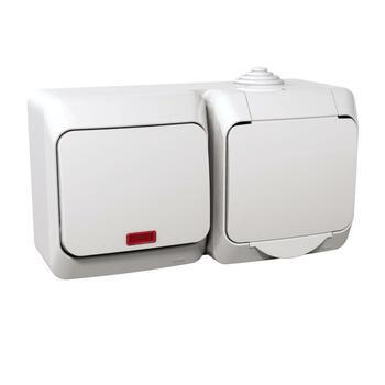Zásuvka 2P+T/16A/250V + prepínač (6So) 16AX/250V (SS) IP44 biela Cedar Plus (Schneider)