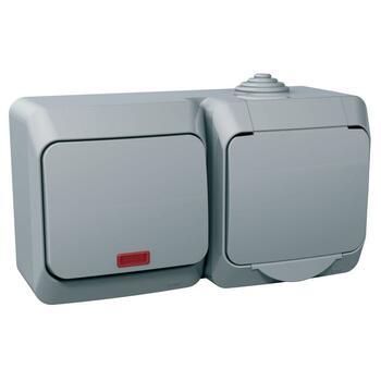 Zásuvka 2P+T/16A/250V + spínač (1So) 16AX/250V (SS) IP44 sivá Cedar Plus (Schneider)