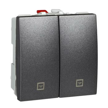 Ovládač žalúzií tlačidlový 10A/250V 2M (PS) grafit Unica (Schneider)