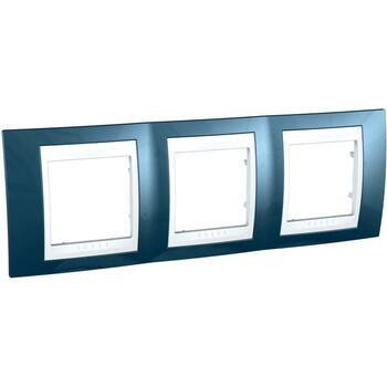 Rámček 3-násobný ľadovomodrá/biela Unica Plus (Schneider)