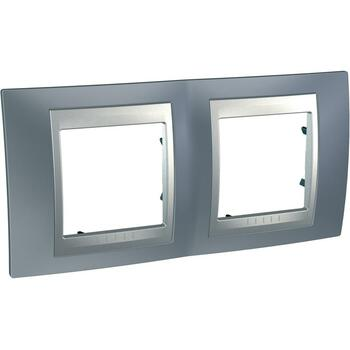 Rámček 2-násobný sivá mat.metal./hliník Unica Top (Schneider)