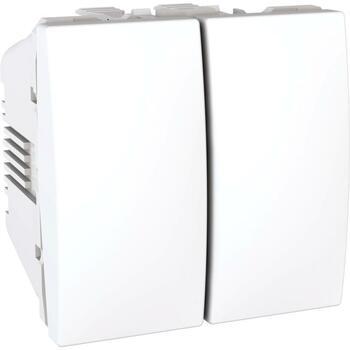 Prepínač dvojitý str. (5B) 10AX/250V 2M (PS) biela polárna Unica (Schneider)