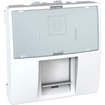 Kryt zásuvky dát. 1xRJ45 2M S-One InfraPlus biela polárna Unica (Schneider)