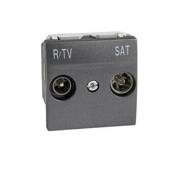 Zásuvka TV/R/SAT priebežná 2M grafit Unica (Schneider)