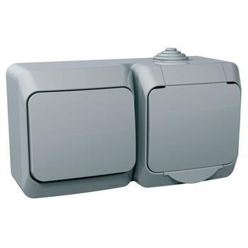 Zásuvka 2P+T/16A/250V + prepínač (6) 16AX/250V (SS) IP44 sivá Cedar Plus (Schneider)