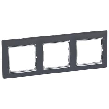 Rámček 3-násobný čierna/strieb.pásik Valena (Legrand)