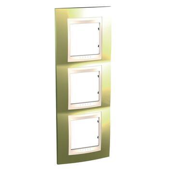Rámček 3-násobný vert. zlatá/slonovinová Unica Plus (Schneider)