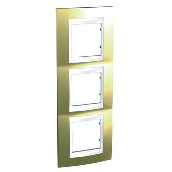 Rámček 3-násobný vert. zlatá/biela Unica Plus (Schneider)