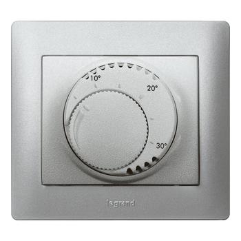 Termostat priestorový 8(4)A/230V 1NO+1NC otoč. - prístroj hliník Galea Life (Legrand)