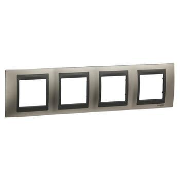 Rámček 4-násobný nikel matný/grafit Unica Top (Schneider)