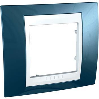 Rámček 1-násobný ľadovomodrá/biela Unica Plus (Schneider)
