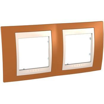Rámček 2-násobný oranžová/slonovinová Unica Plus (Schneider)