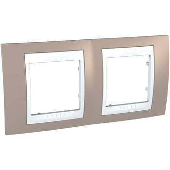 Rámček 2-násobný sivobéžová/biela Unica Plus (Schneider)