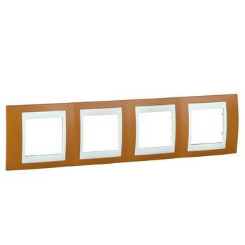 Rámček 4-násobný oranžová/biela Unica Plus (Schneider)