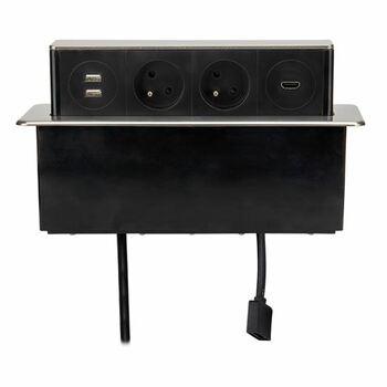 Nábytková výsuvná zásuvka 2x230V, 1xHDMI, s vidlicou, nerez (SOLIGHT)