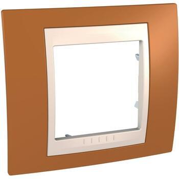 Rámček 1-násobný oranžová/slonovinová Unica Plus (Schneider)