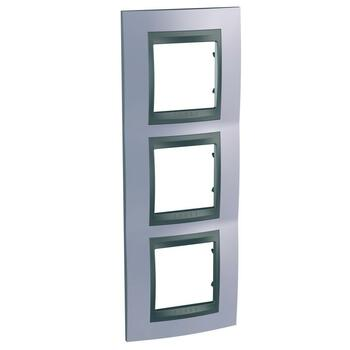 Rámček 3-násobný vert. metalická modrá/grafit Unica Top (Schneider)