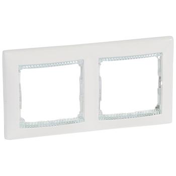 Rámček 2-násobný biela/priehľ.pásik Valena (Legrand)