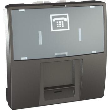 Zásuvka telefónna 1xRJ12 2M krytka popis.p. (SS) grafit Unica (Schneider)