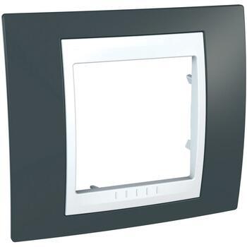 Rámček 1-násobný sivá bridlicová/biela Unica Plus (Schneider)
