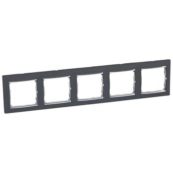 Rámček 5-násobný čierna/strieb.pásik Valena (Legrand)