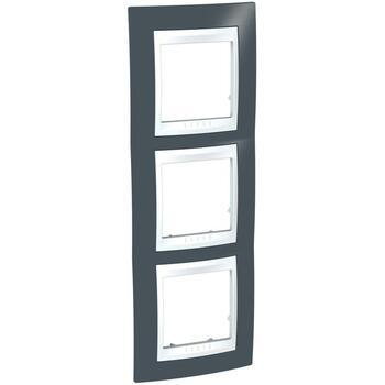 Rámček 3-násobný vert. sivá bridlicová/biela Unica Plus (Schneider)