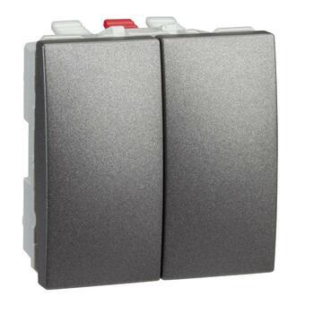 Prepínač dvojitý str. (5B) 10AX/250V 2M (PS) grafit Unica (Schneider)