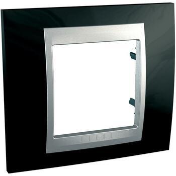 Rámček 1-násobný čierna lesklá/hliník Unica Top (Schneider)