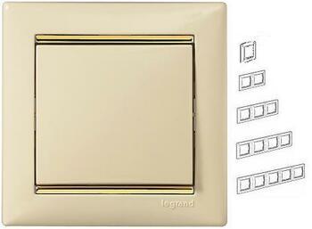 Rámček 4-násobný béžová/zlatý pásik Valena (Legrand)