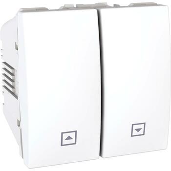 Ovládač žalúzií tlačidlový 10A/250V 2M (PS) biela polárna Unica (Schneider)