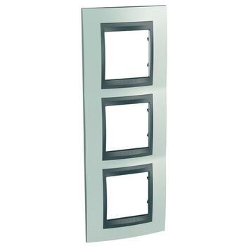 Rámček 3-násobný vert. zelená mat.metal./grafit Unica Top (Schneider)