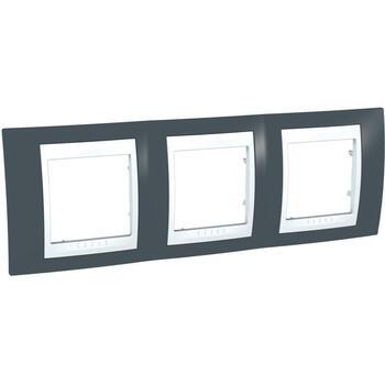 Rámček 3-násobný sivá bridlicová/biela Unica Plus (Schneider)