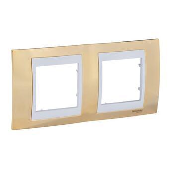 Rámček 2-násobný zlatá/biela Unica Plus (Schneider)