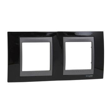 Rámček 2-násobný čierna lesklá/grafit Unica Top (Schneider)