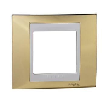 Rámček 1-násobný zlatá/biela Unica Plus (Schneider)