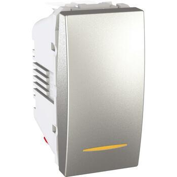 Prepínač striedavý (6Ss) 10AX/250V 1M (PS) hliník Unica (Schneider)