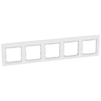 Rámček 5-násobný biela/priehľ.pásik Valena (Legrand)