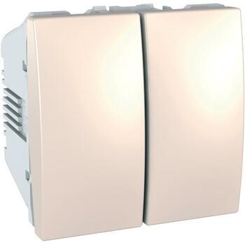 Prepínač dvojitý str. (5B) 10AX/250V 2M (PS) slonovinová Unica (Schneider)