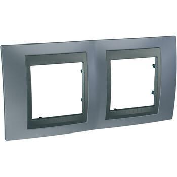 Rámček 2-násobný sivá mat.metal./grafit Unica Top (Schneider)