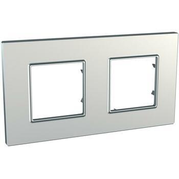 Rámček 2-násobný strieborná Unica Quadro Metallized (Schneider)