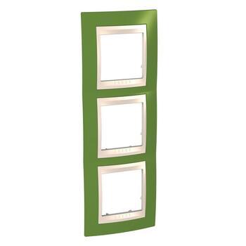 Rámček 3-násobný vert. pistáciová/slonovinová Unica Plus (Schneider)