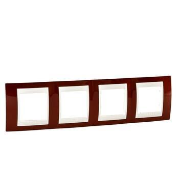 Rámček 4-násobný terakotová/slonovinová Unica Plus (Schneider)