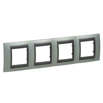 Rámček 4-násobný zelená mat.metal./grafit Unica Top (Schneider)