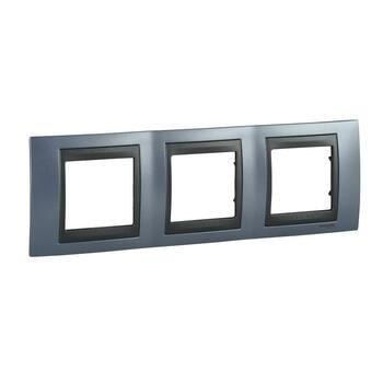 Rámček 3-násobný modrá mat.metal./grafit Unica Top (Schneider)