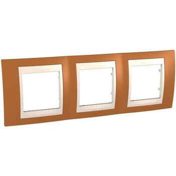 Rámček 3-násobný oranžová/slonovinová Unica Plus (Schneider)