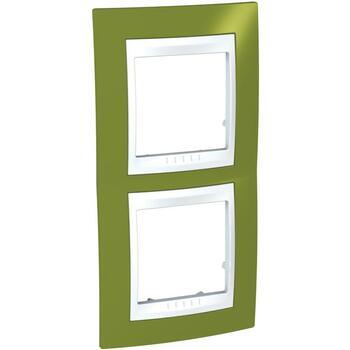 Rámček 2-násobný vert. pistáciová/biela Unica Plus (Schneider)