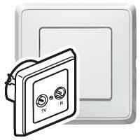 Zásuvka TV/R priebežná 1,5dB biela Cariva (Legrand)