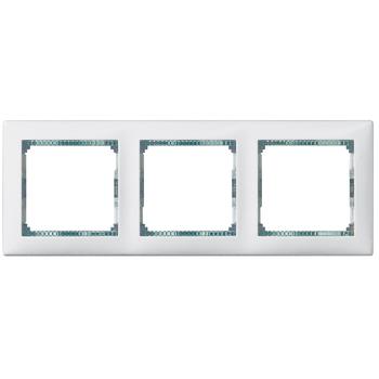 Rámček 3-násobný biela/priehľ.pásik Valena (Legrand)