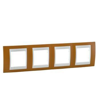 Rámček 4-násobný oranžová/slonovinová Unica Plus (Schneider)